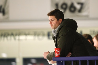 Toronto Maple Leafs general manager Kyle Dubas watches his team work earlier this season.