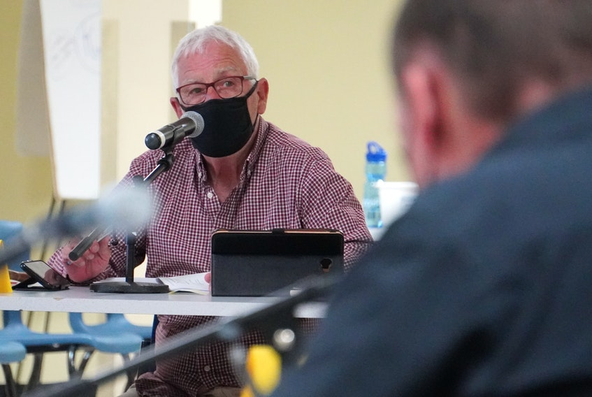 Three Rivers Mayor Edward MacAulay spoke during a council meeting at Cavendish Farms Wellness Centre in Montague on May 10.