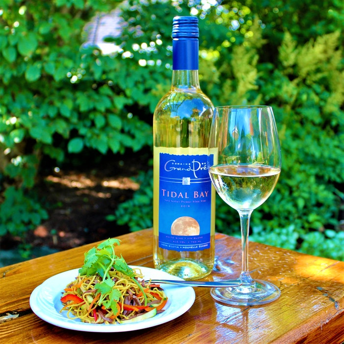 A small culinary plate paired with Domaine de Grand Pre's 2019 Tidal Bay. - Contributed
