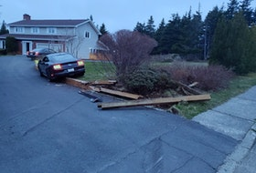 The car had gone off the road, crashing into a wooden barrier on a residential property which was separating the driveway and the front yard.