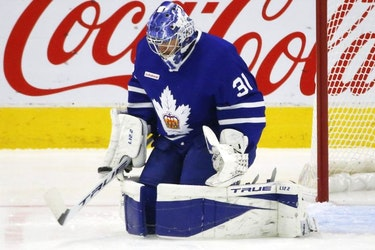Toronto Marlies goalie Frederik Andersen  G (31) stops the first shot of the game during first period action in Toronto on Thursday May 6, 2021.