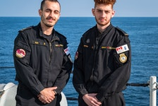 Sailor 2nd Class Yunus Kurt, left, and Sailor 3rd Class Ahmad Bitar have been fasting for Ramadan over the past 30 days aboard HMCS Halifax. They are among three Muslims in the frigate's crew that will celebrate Eid Thursday.