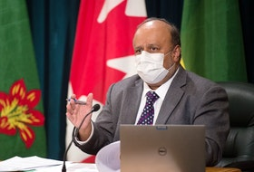 Saskatchewan's chief medical health officer Dr. Saqib Shahab speaks to media about COVID-19 during a news conference held at the Saskatchewan Legislative Building in Regina, Saskatchewan on Mar. 9, 2021.