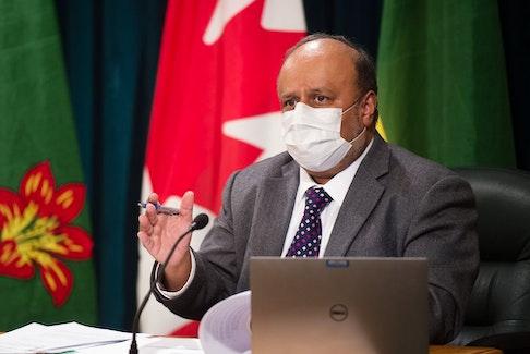 Saskatchewan's chief medical health officer Dr. Saqib Shahab speaks to media about COVID-19 during a news conference held at the Saskatchewan Legislative Building in Regina, Saskatchewan on Mar. 9, 2021.