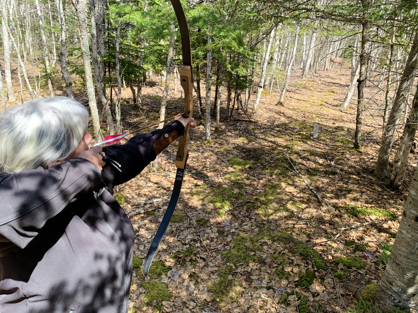 Dorothy Best prepares to shoot an arrow at a target down range during a recent Down by the Bay Traditional Archery Club practice near Parrsboro. - Darrell Cole