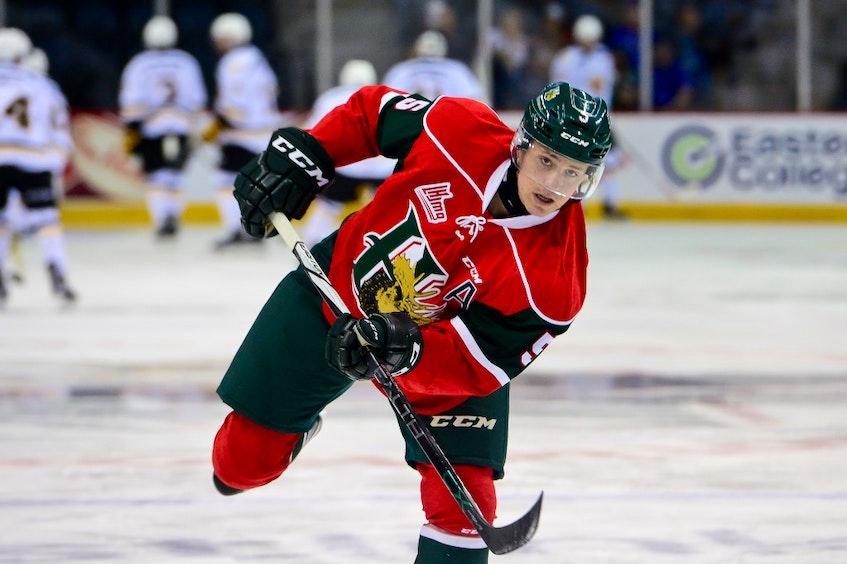 Defenceman Cavan Fitzgerald takes a shot during Halifax Mooseheads warm-up during the 2015-16 QMJHL season. - Halifax Mooseheads