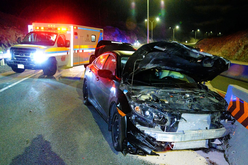 One man was in police custody following a single-vehicle crash on the Team Gushue Highway early Wednesday morning. Keith Gosse/The Telegram