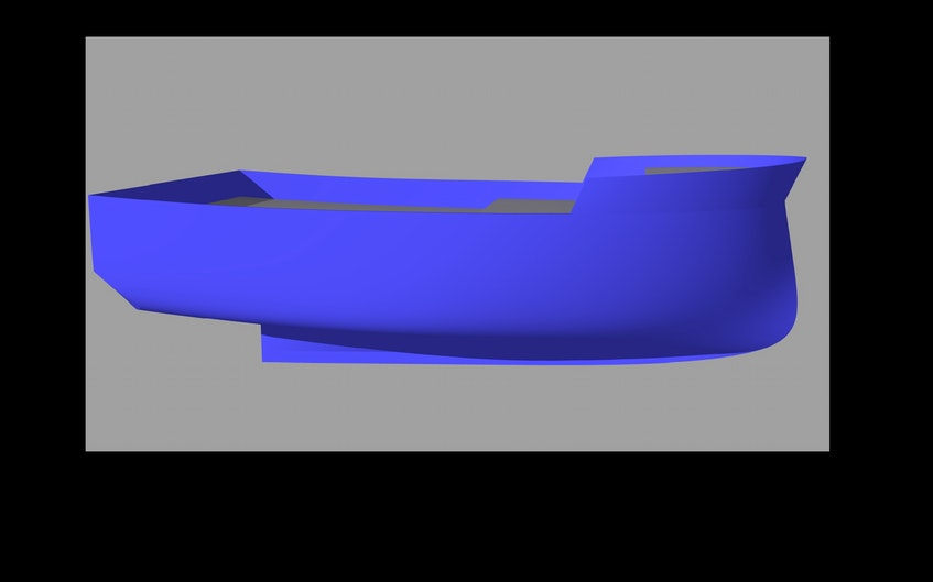 This is a 3-D computer rendering of the TriNav Marine Design E-FINN fishing boat hull. - Contributed