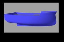 This is a 3-D computer rendering of the TriNav Marine Design E-FINN fishing boat hull.