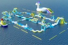 Splashifax, a floating obstacle course and playground, plans to inflate this set up on First Lake in Lower Sackville in mid-June. - Splashifax