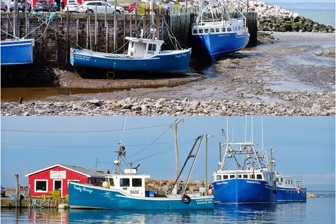 There's not much left for me to say except to thank Phil Vogler for these dramatic spring tide photos.  Low and high tide in Harbourville, N.S. on Monday, just hours before Tuesday's new moon.