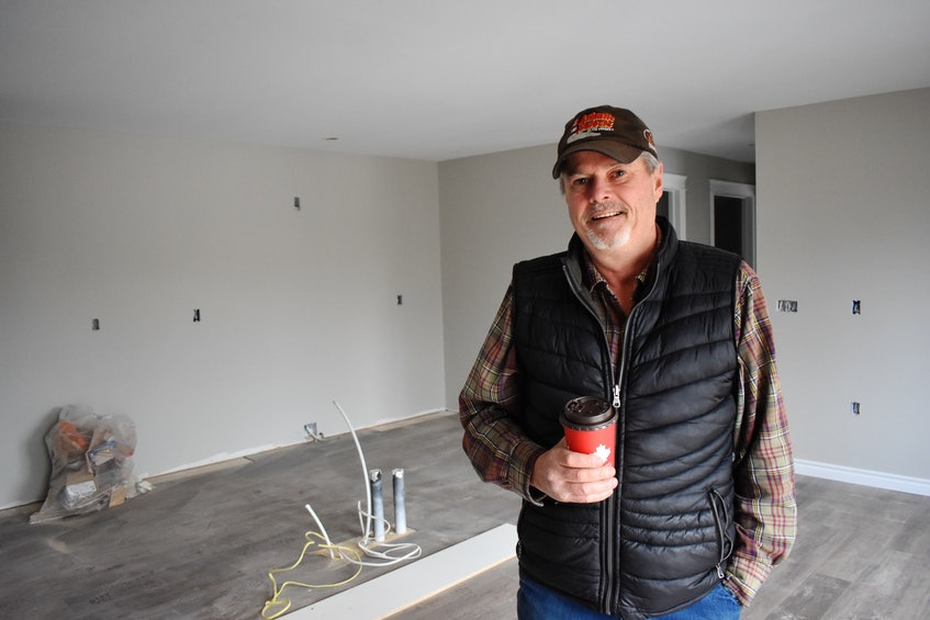 Scott Bishop said the units in the new apartment complex under construction in Greenwood will have nice kitchens with large islands. – Ashley Thompson
