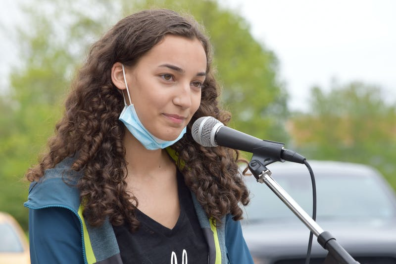 Vanessa Hartley, chair of the South End Environmental Injustice Society (SEED) speaks at last year's Black Lives Matter Unity Rally in Shelburne. - Kathy Johnson
