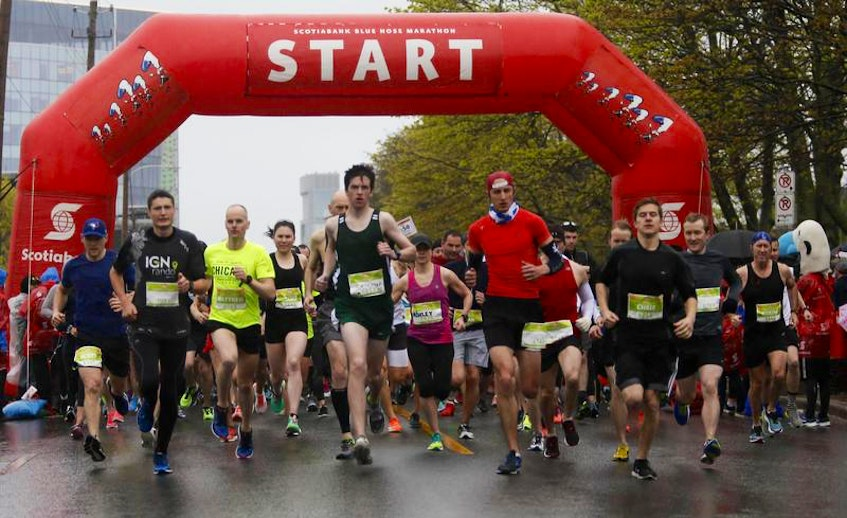 Runners take off at the start of the 10K race at the 2018 Scotiabank Blue Nose Marathon in Halifax. - Tim Krochak