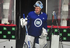 Canucks goalie Michael DiPietro in action during Vancouver Canucks training camp at Rogers Arena in Vancouver, BC., on January 11, 2021.