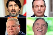 Prime Minister Justin Trudeau, Alberta Premier Jason Kenney and Ontario Premier Doug Ford have seen the sharpest decline in trust among voters, while Quebec Premier François Legault, bottom right, has seen a large increase in trust.