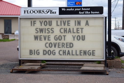 Floors Plus issued its first dig at Swiss Chalet, after sales associate Cindi Crawford saw the business tagged in several comments.