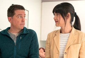 Ed Helms and Patti Harrison in Together Together.