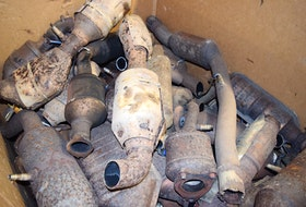 A box of catalytic converters at Cape Breton Salvage and Parts Inc. in Gardiner Mines. Sharon Montgomery-Dupe • Cape Breton Post