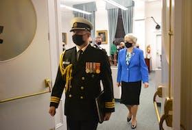 Lt.-Gov Antoinette Perry exits P.E.I.'s Legislative Chamber after the close of the spring sitting of the P.E.I. legislature on Thursday night.