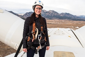 Robynne Murray, shown in one of her favourite photos, on top of an Alstom wind turbine at the National Renewable Energy Laboratory's  Flatirons Campus, where she works in Boulder, Colorado.