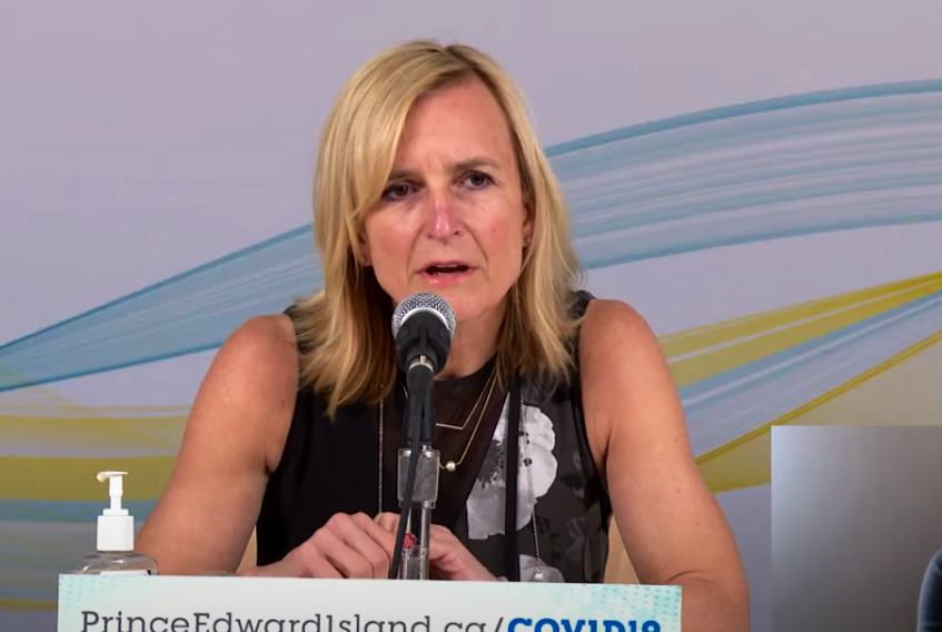Dr. Heather Morrison announces one new positive case of COVID-19 in P.E.I. on May 13, 2021.