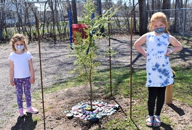Students Audrey and Avery Johnson stand beside a tree planted on the Debert Elementary School grounds in memory of Lisa McCully who was a victim of last year's shooting rampage which started in Portapique.