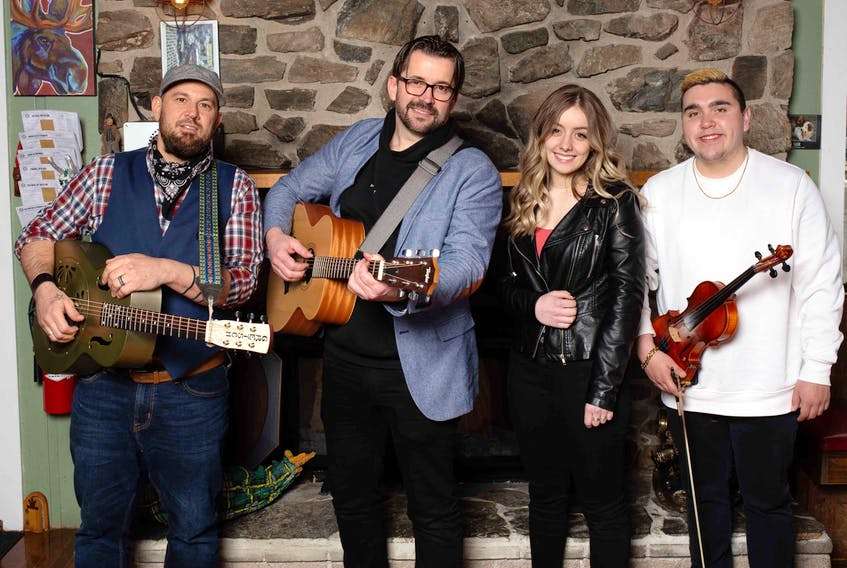 In addition to producing and recording the albums of Jesse Cox (far left), Isabella Samson (second from right) and Morgan Toney (far right), Keith Mullins (second from left) hopes to perform and tour with these musicians later this year.