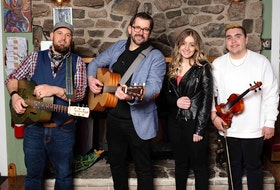 Keith Mullins, second from right, has produced and recorded the albums of, from left, Jesse Cox, Isabella Samson and Morgan Toney. The foursome hopes to perform and tour together later this year. Contributed