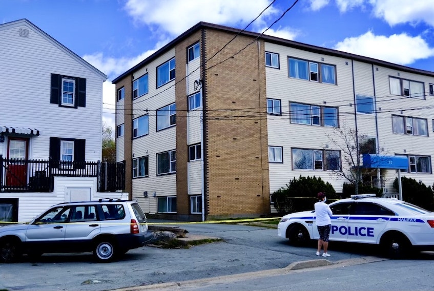 A police dog tracked a third person involved in a stabbing in Dartmouth early Thursday morning, May 13, 2021, to the 0-50 block of Hastings Drive, where officers found a man inside a residence with an undisclosed type of hand injury. That location was still surrounded by police tape later in the day.