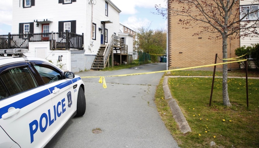 A police dog tracked a third person involved in a stabbing in Dartmouth early Thursday morning, May 13, 2021, to the 0-50 block of Hastings Drive, where officers found a man inside a residence with an undisclosed type of hand injury. That location was still surrounded by police tape later in the day. - Tim  Krochak