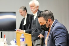 RNC officer Doug Snelgrove (right) and defence lawyers Jon Noonan (left) and Randy Piercey in Newfoundland and Labrador Supreme Court at the former School for the Deaf in St. John's earlier this week. Telegram file photo