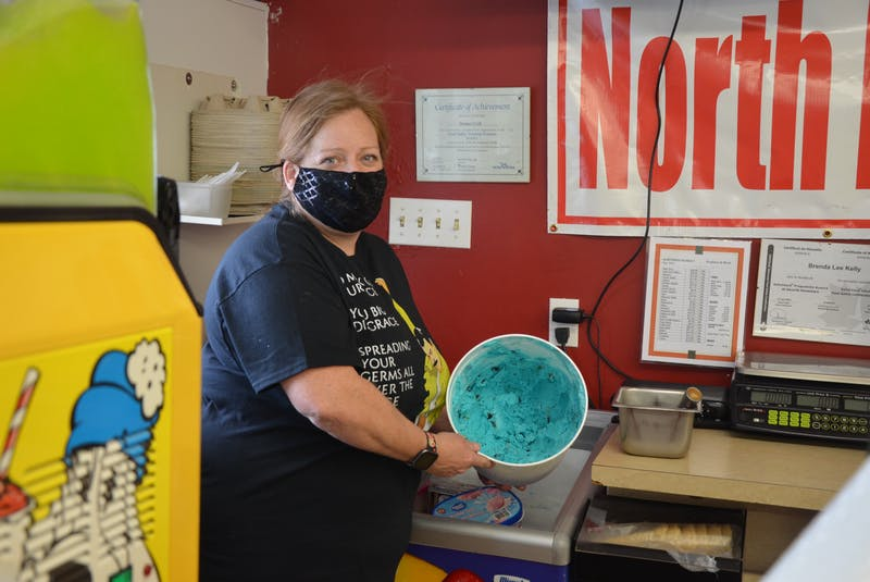 Heather Kroezen, co-owner of Kentville's Northend Market, says cookie monster is proving to be the most popular flavour at their new ice cream window. - Kirk Starratt
