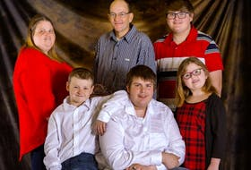 The Gerrow family in a photo from December 2020. From left, back, Vicki, Dwayne, Corbin and front, Ian, Domonic and Sierra. CONTRIBUTED • CREATIVE ISLE PHOTOGRAPHY
