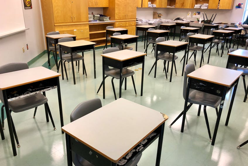 Desks in a classroom at Sydney's Sherwood Park Education Centre in August 2020, placed according to public health protocols to stop the spread of COVID-19 — spaced one metre apart.  NICOLE SULLIVAN • CAPE BRETON POST