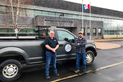 MOPC Level Two Building Officials Mike McKenzie, left, and Travis Spears are kept busy with the recent building boom in rural Pictou County.   Building inspectors play an important role in protecting homeowners by ensuring all building and renovations are done in compliance with the National Building Code.