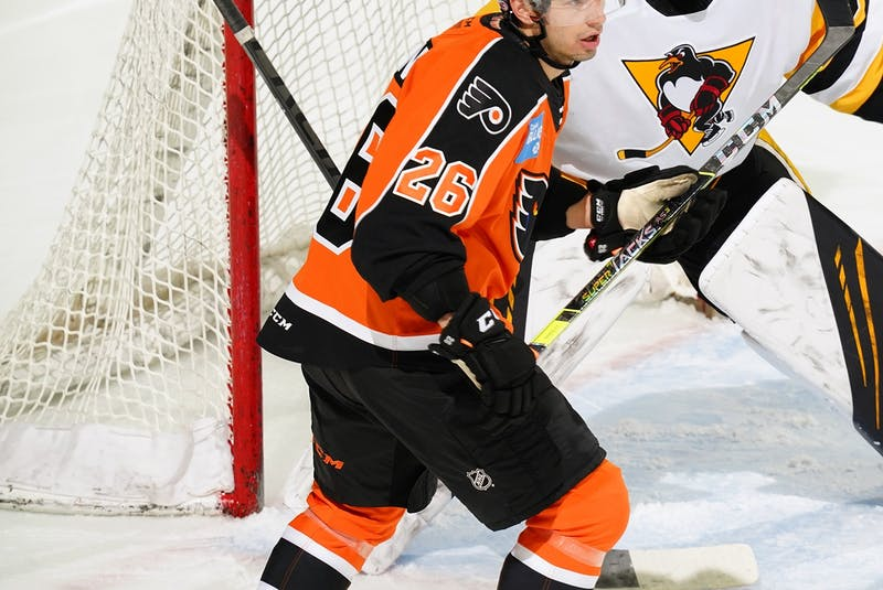 Brennan Saulnier goes to the front of the net in an AHL game against the Wilkes-Barre/Scranton Penguins. - Lehigh Valley Phantoms - Contributed