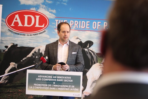 Chad Mann, CEO of Amalgamated Dairies Ltd., speaking during Thursday's announcement that the company is investing in a new $4 million feta cheese packaging machine. The technology is expected to double feta production capacity at ADL's Summerside facility.