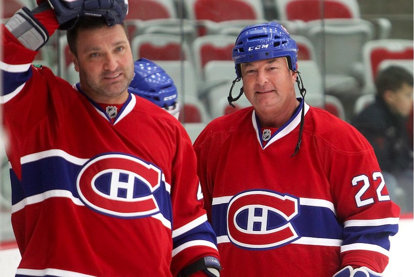 Former Canadiens' Steve Shutt (right) and Stéphane Richer warm up before an alumni game in Calgary in 2015. Shutt, 68, now lives in Sarasota, Fla.