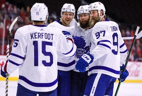 The Leafs' second power-play unit celebrates Jake Muzzin's goal on Wednesday in Ottawa, just the team's sixth with the man advantage in 71 tries since March 3.