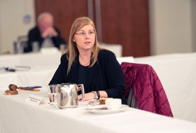 MLA Karla MacFarlane chairs a Progressive Conservative caucus meeting in February. -- PC Caucus