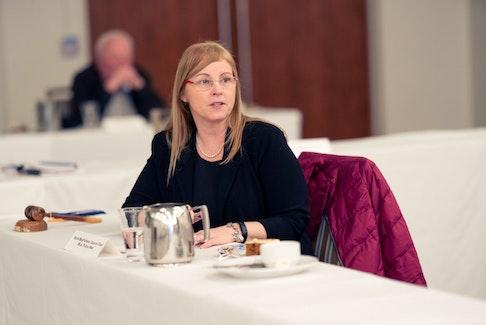 MLA Karla MacFarlane chairs a Progressive Conservative caucus meeting in February. -- PC Caucus
