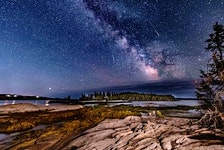 While you were sleeping, Barry Burgess was at it again; Barry is a master when it comes to photographing the night sky.  He was out along the Aspotogan coast in Nova Scotia before dawn on Tuesday and watched four satellites track across the sky in just 30 seconds. Barry's photos are award-worthy and we're fortunate to have him share them with us!  Thanks again, Barry!