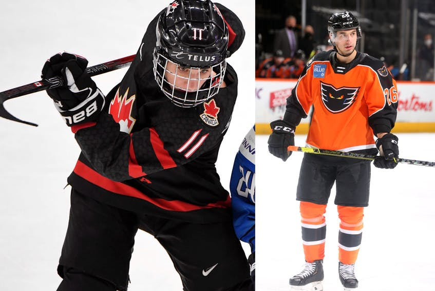 Jill Saulnier, left, is a member of Canada's women's team and her younger brother Brennan, right, plays for the AHL's Lehigh Valley Phantoms. - Contributed