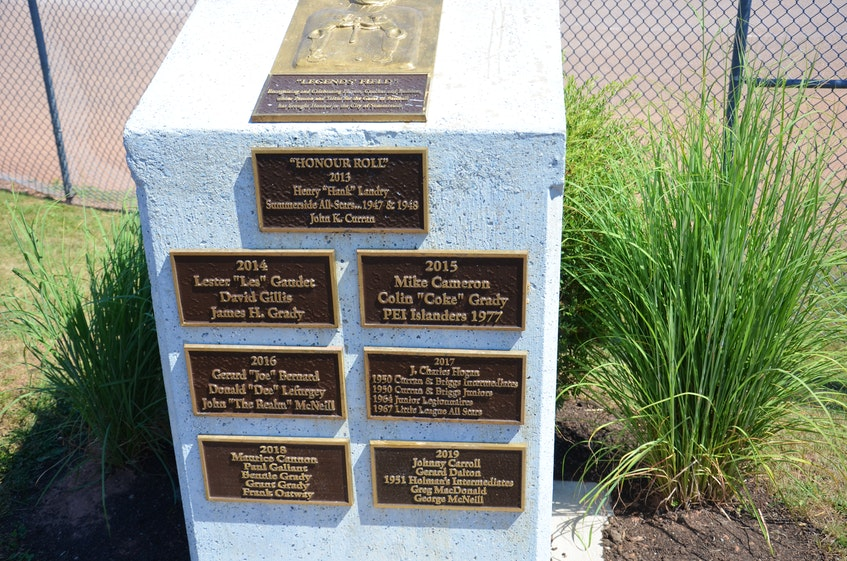 Colin (Coke) Grady was inducted into the Legends Field Honour Roll at Queen Elizabeth Park in Summerside in 2015 for his contributions to baseball in the Prince County city. Grady died on Wednesday at the age of 87. - Contributed