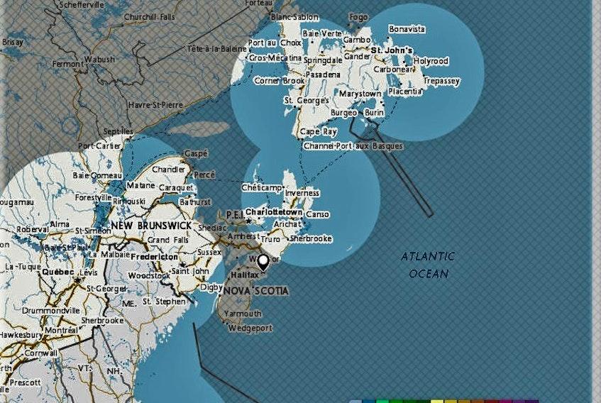 There are five radar installations in Atlantic Canada. The Nova Scotia radar in Gore will be down until mid-June.