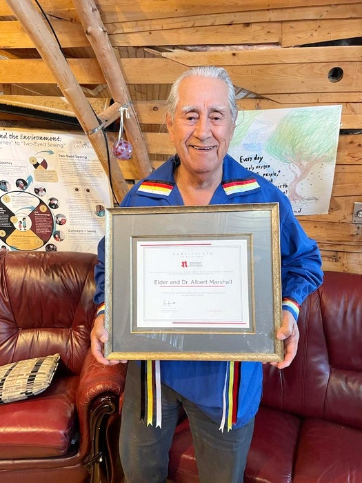 Eskasoni First Nation elder Albert Marshall is the sixth recipient of the Canadian Counselling and Psychotherapy Association's Professional Champion Award. CONTRIBUTED - Ardelle Reynolds