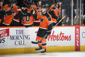 Brennan Saulnier of Halifax celebrates a goal with his Lehigh Valley Phantoms teammates. - Lehigh Valley Phantoms