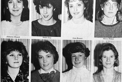The chance to be crowned Princess Windsor 1986 had eight women competing for the title. The competitors were, from left, top row: Julianne Doucet, Susan Ivey, Lesa Benson, and Nancy Nelson; bottom row: Donna Christine Rehberg, Diane Louise Stephens, Lynn Porter and Leslie Ann Barkhouse.