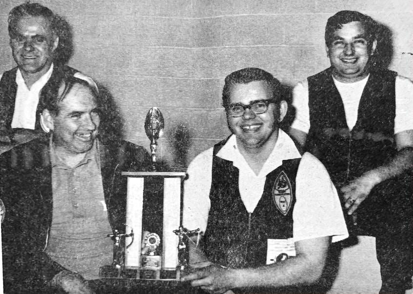 The Glooscap #1 Archery Team once again won the freestyle division at the Nova Scotia annual indoor open archery tournament in Hantsport in 1971. The score was 2,125. Pictured are teammates Arnold Joudrey, Bob Mack, Rick Oickle and Rick Meister. Joudrey also won the individual men's freestyle event with a score of 556. - File Photo